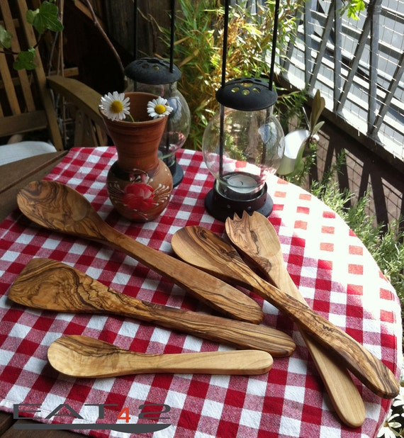 Olive wood Kitchen Aid Set of salad servers, spatulas and spoons (5 pieces, handmade)