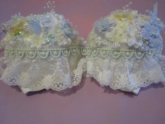 Blue pastel custom rave push up bra // lace // floral