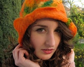Orange Felt Hat  Wool Silk Tangerine Green Vibrant Cloche OOAK