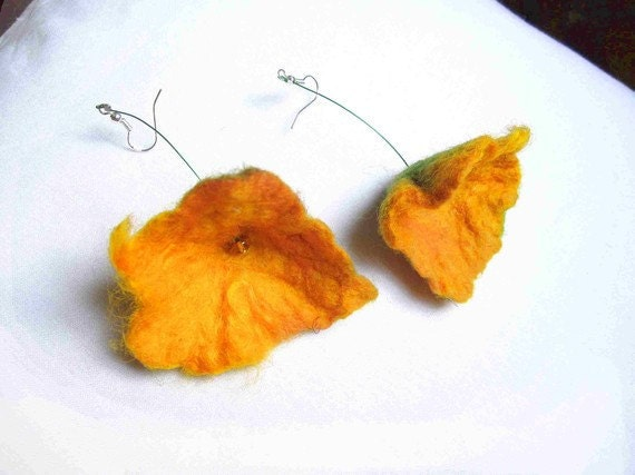 Felted Earrings Yellow California Poppies Summer Fashion Wool Silk Sunny Orange Statement Dangle Long  Hand Felted Merino Wool Flowers