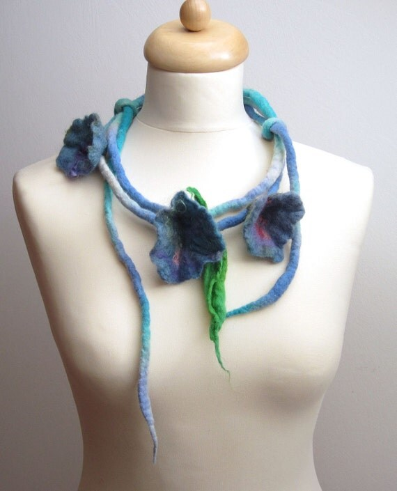 Felt Necklace Sky Blue Flowers Floral Felted Floral Forget Me Not Dread Spring Fashion Belt Headband Heavenly Celeste