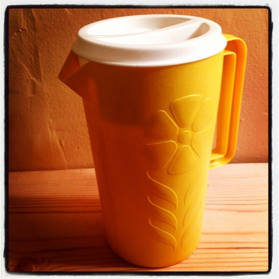 Vintage Pitcher--Yellow Sterlite with Flower