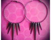 Sexy Rock Chick Extra Large Spiked Gun Metal Hoop Earrings