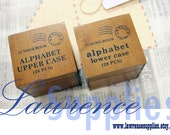 Wooden Rubber Stamp Box Set - Sale - Alphabet Stamps - Schoolbook Style - Uppercase or Lowercase Letters