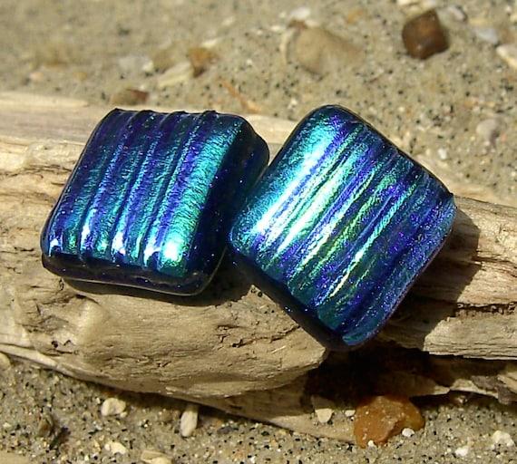Fused Glass Dichroic Stud Earrings - Tamsyn