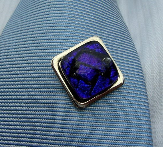 Fused glass dichroic tie tac - blue square tie pin