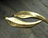 Brass long feather dangle earrings - hammered