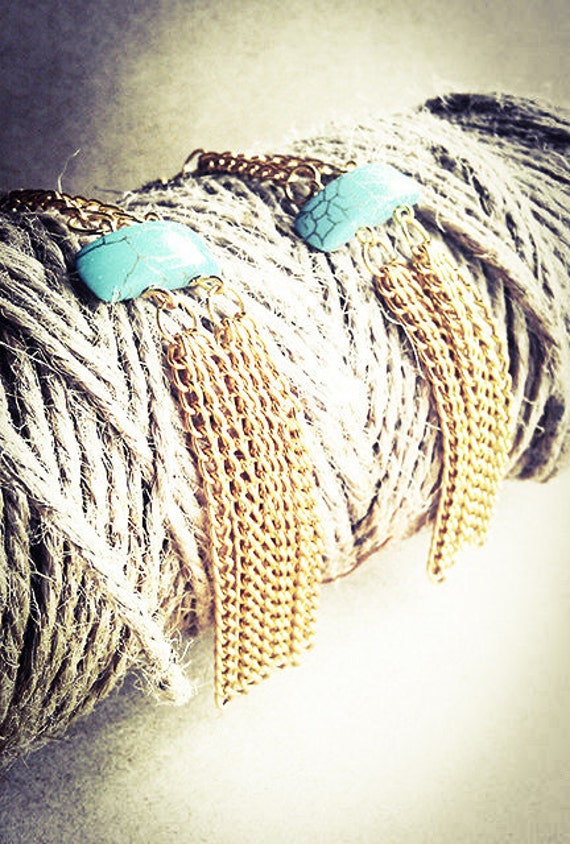 Turquoise Gold Fringe Earrings