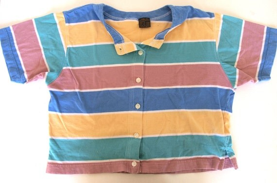 Vintage Sweet Multi-Colour Striped Button Up Crop Top