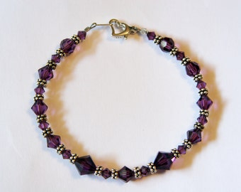 Purple Swarovski and Sterling Silver Bracelet with Heart Clasp