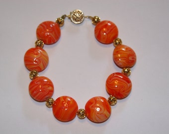 Coral and gold plated Bracelet