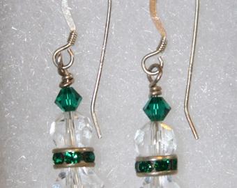 Green and Clear Swarovski earrings.