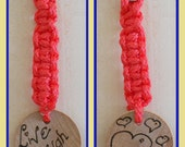 """Keyring with hearts on one side and """"Live, Laugh. Love"""" on the other with macrame cord - lovely"""