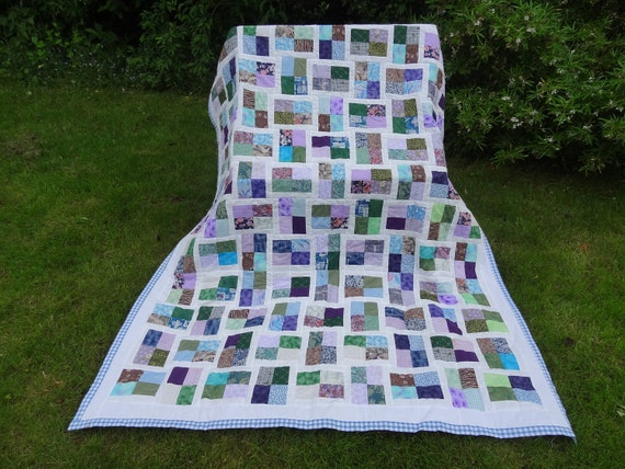 SALE-Handmade patchwork quilt in pretty blue tones -SALE