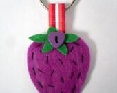 Felt Strawberry Keyring, Purple Fruit Key Chain, Hand Stitched Felt Gift