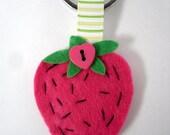 Felt Strawberry Keyring, Pink Fruit Key Chain, Hand Stitched Felt Gift