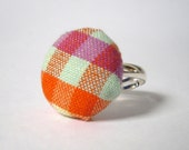 Gingham Fabric Ring, Striped Orange, Purple and Green Silver Button Ring.