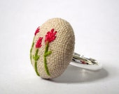 Pink Flower Fabric Button Ring, Hand Stitched Flowers on Linen Fabric Silver Ring