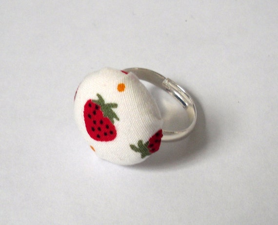 Strawberry Button Ring, Red and White Fabric Button, Silver Ring