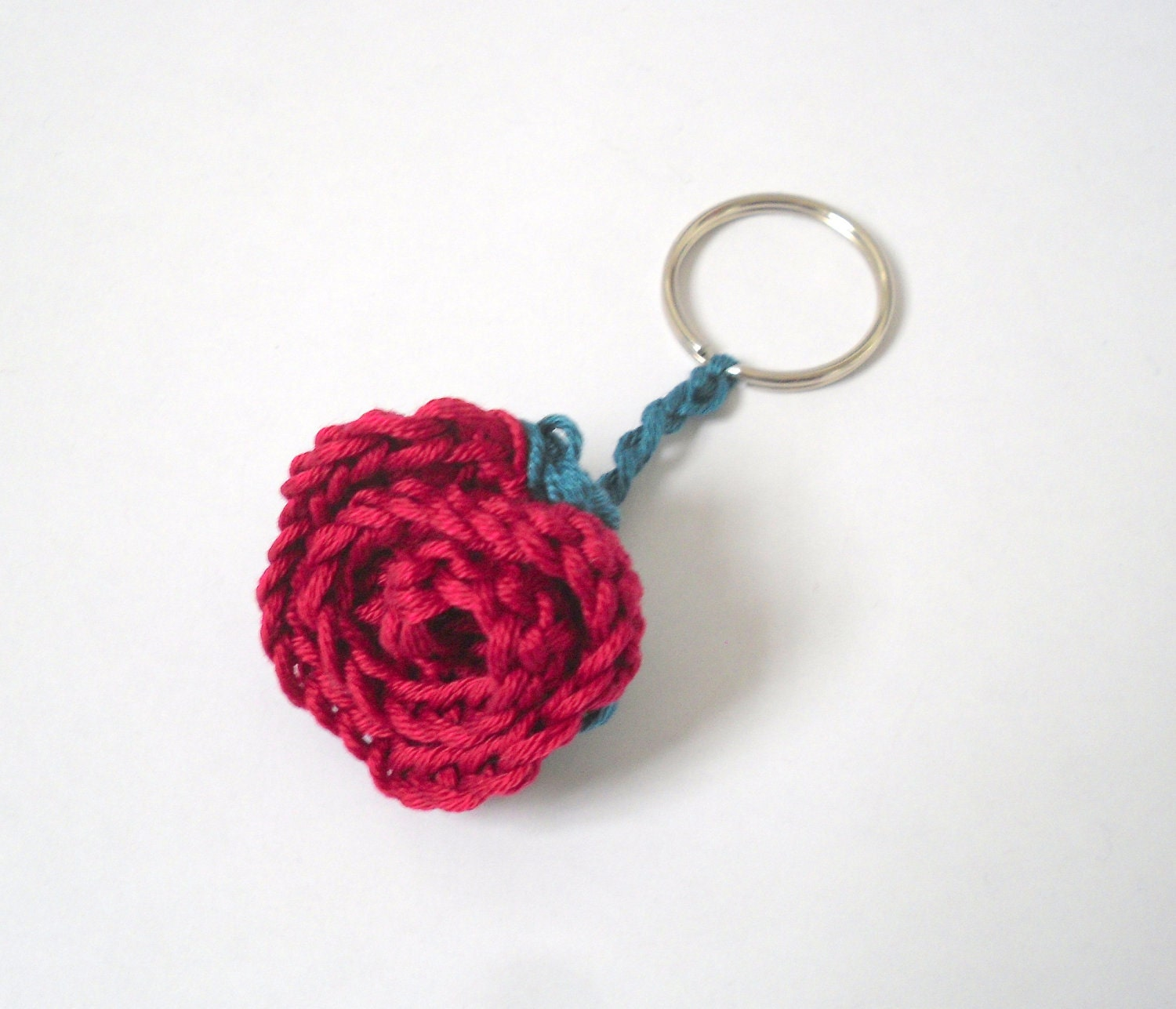 Crochet Keychain : Flower Crochet Keyring Red Rose with Green by StitchHappyLottie