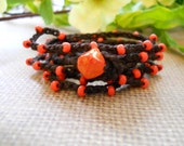Boho wrap bracelet ORANGE CRUSH crochet wrap bohemian, hippie chic, anklet