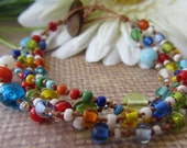 Sale  PARTY ROCKIN  Boho, Bohemian, Hippie-chic, Beachy,  3 Strander  beaded bracelet