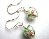 Spring green roses puffed heart earrings