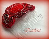 Soutache Hair Jewelry, Soutache Hair accessory- Red, silver and black Hair Comb
