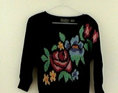 Vintage 80s Pretty Floral Black Jimmy Garcia Hand Loomed Sweater Top Blouse S
