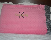 Set of 2 personalized standard minky dot pillowcases with or without printed band.