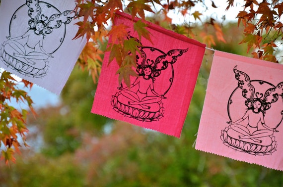 Fairy flags / bunting, for garden, party, bedroom- lotus meditating faerie in pinks & purples