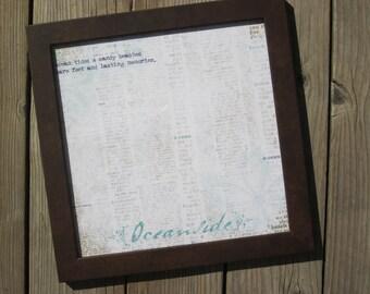 Oceanside Brown 12x12 Wood Frame With Beach Print