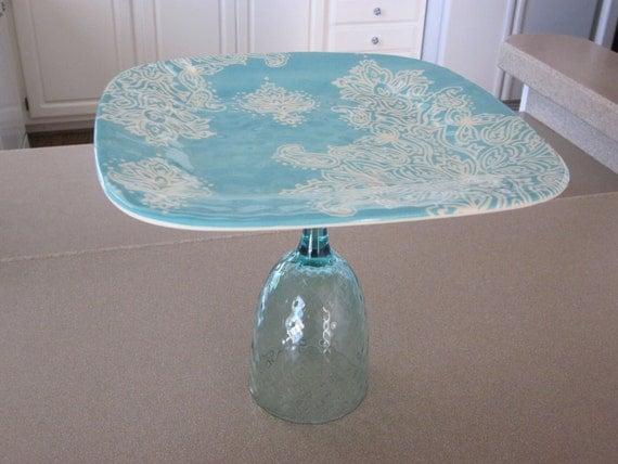 Blue/White Paisley Cake/Cupcake/Dessert Stand