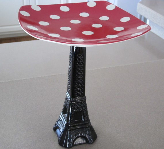 Black/Red White Polka Dot Eiffel Tower Candy/Dessert/Jewelry/Home Decor Stand