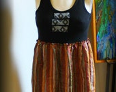 Upcycled Clothing / Tank Dress / Long Tunic / tank Top / Stripes Geometric / Bohemian / Rasta Reggae Festival by Sweet L Michelle