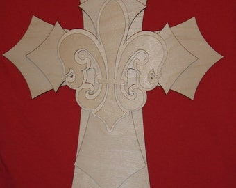 Unfinished Wood Layered Wood Crosses Stacked Wooden Cross Part 150 With fleur de lis Part 150