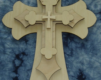 Unfinished Wood Layered Crosses Stacked Wooden Cross Cut outs Part Lc 165