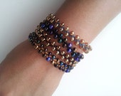 Braided Bead Bracelet with Button Closure - Large