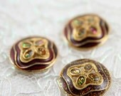 Vintage Buttons - Lot of 3 Antique Brown, Glitter Abstract Metal 20mm for Jewelry Supplies, Scrapbooking, Sewing