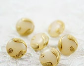 Vintage Buttons - Lot of 6 Antique Retro Cream, Gold Plastic 15mm for Collectible, Jewelry, Sewing, Craft & Accessories Supplies Projetcs