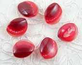 Vintage Buttons - Lot of 6 Antique Retro Red Oval Plastic 15mm for Collectible, Jewelry Buttons, Sewing, Craft & Accessories Supplies