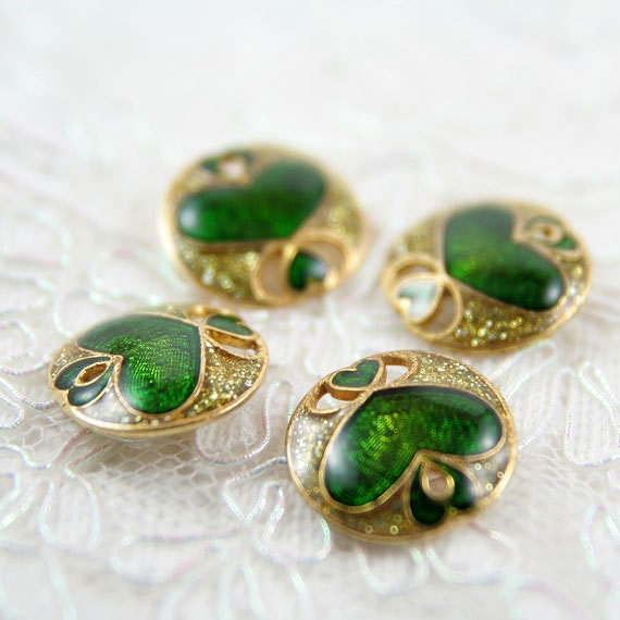 Vintage Buttons - Lot of 4 Antique Gold, Green Heart Metal 20mm for Jewelry Supplies, Scrapbooking, Sewing