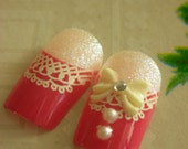 12pcs DIY 3D Fake Nails Wedding Dinner Prom Party
