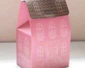 Pink House Handle Boxes - House printed paper bags ( 5 bags )