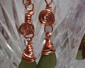 Green Irish Sea Glass & Copper Spirals Earrings