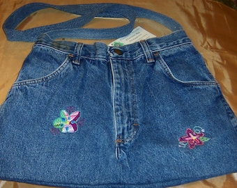 Upcycled Blue Jeans Embroidered Bag