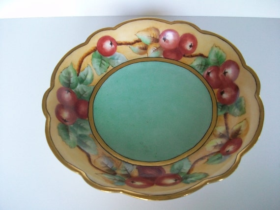 Antique Limoges Fruit Bowl with Currants  c 1910