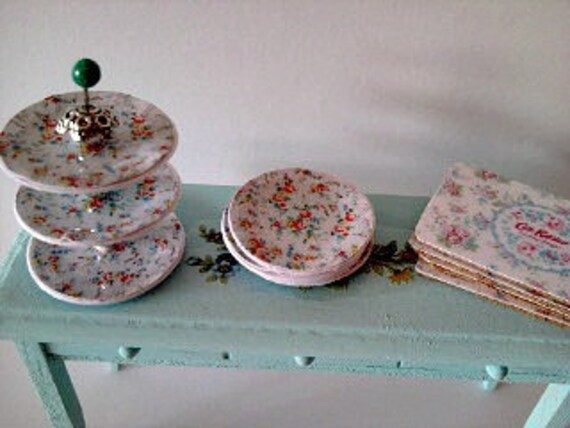 Dolls house table set with cake stand plates and table mats