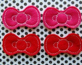 Hello Kitty Style Bow Felt Appliques - WHOLESALE - 4 Hello Kitty Bow Embellishments - Pink and Red - Scrapbooking - Appliques