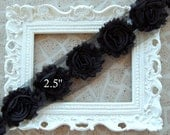 1 YARD Shabby Frayed Fabric Flowers Wholesale  - 1 YARD - Black - Wholesale  Embellishments - Frayed Flowers - Scrapbooking - Sewing